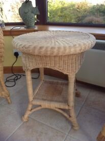 Cane lamp table