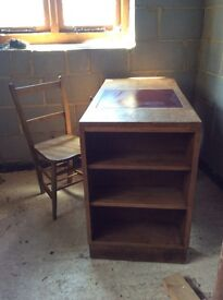 Vintage Child's desk and book case with elm chair
