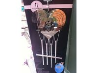 NEW, 3D, silver metal, garden owl wind chime /spinner