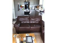 2 SEATER REAL LEATHER SOFA CAN DELIVER FREE GRT COND