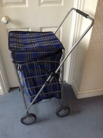 4 wheel shopping trolley tartan blue tartan collapsible