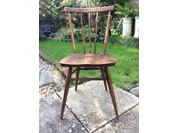 Ercol stick back chair with label - mid century vintage classic