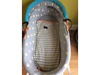 USED WICKER MOSES BASKET AND STAND COLLECTION ONLY ( really good condition )