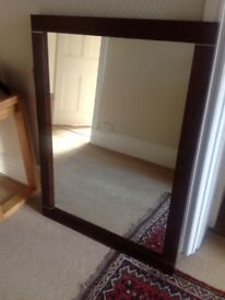 Solid wood mirror with detail great condition