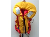 Kids' life jackets with integral deck safety harness - excellent condition