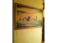 Rare 1960s print of horses in waves from original by Richard Fox - retro vintage kitsch