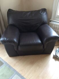 Leather 3 people sofa & Armchair £70