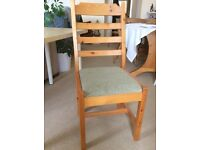4 Ladder Back solid pine chairs with upholstered seats £45