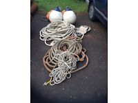 Assortment of good quality ropes and fenders