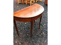 Vintage demi lune console table, larger than most of the same ilk
