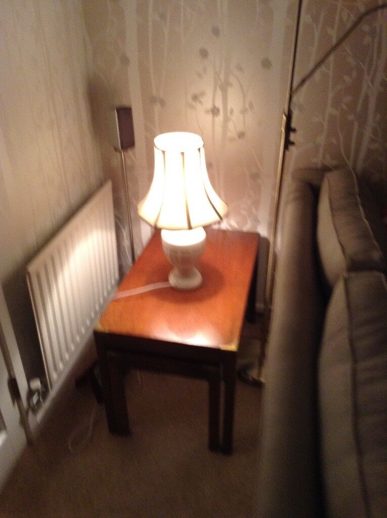 Elegant cream table lamp.