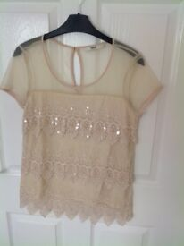 Ladies cream Oasis short sleeved top