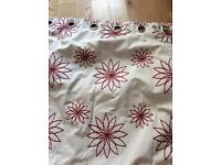 Dunelm fully lined curtains 102inches x 54 inches long cream with red detail