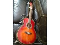 Red Electro Acoustic Guitar + Pure Tone fitted Leather Hard case