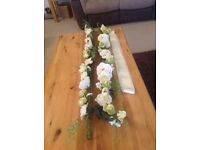 Cream silk flowers and car ribbon