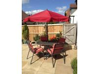 Garden Furniture Set Excellent Condition - 4 chairs, table and parasol with base