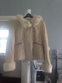 Ladies cream suade jacket with faux fur lining and hood