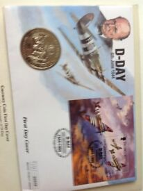 Guernsey coin and stamp 1st Day Cover. 50th Anniversary of D-Day,