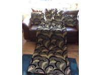 Black and Gold curtians plus 5 cushion covers