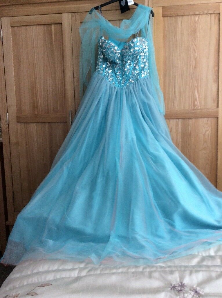Ball Gown Designer made Turquiose with coral layers of netting Jewelled bodice size 12 as new