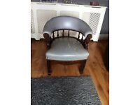 nice old retro chair-for restoration-needs seat recovering and 1 spindle missing