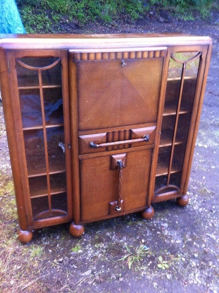 Stunning 1920s/30s art deco bureau/display cabinet/ cocktail ...