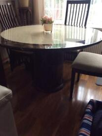 Marble dining table 4 ladderback chairs.