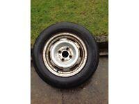 Spare caravan wheel and tyre