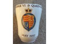 Coronation commemorative ceramic beaker
