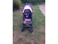Silver cross pop pushchair / stroller pink butterfly design with raincover
