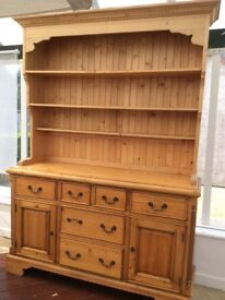 Pine Welsh dresser Used , good condition within concealed lighting . Can deliver at cost