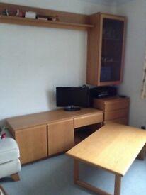 Table, Sideboard and Shelves (Lit) Medium Wood