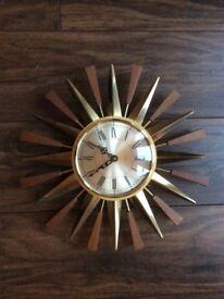 Vintage starburst wall clock -working