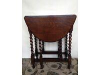 Dark Wood Drop-leaf Table Barley Twist Gate Legs Circa 1930s Original Vintage