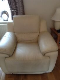 Sofa - cream leather electric recliners for sale