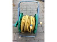 Garden hose on a hose reel