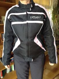 Ladies motorcycle jacket size 12, inner lining, armour