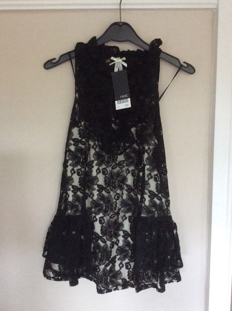 Black lace top with cream underlay