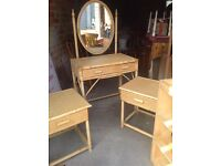 Wicker dressing table and 2 bedside cabinets