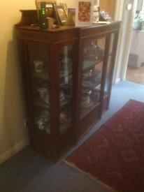 Display Cabinet lockable lovely wood with lined shelving for prized collection or shop displays