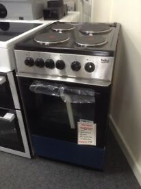 Beko 50cm single cavity electric cooker. Stainless steel 4 plate hob. £195. New/graded 12 month gtee