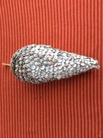 Hanging Large Silver Glittery Pine Cone Christmas Decoration