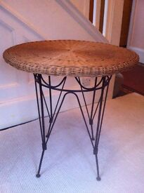 Vintage Wicker and Metal Classic Garden Patio Table or Occasional Stand / Can Deliver
