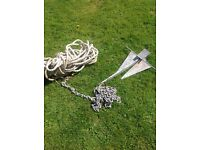 Plough Anchor 60cm with chain and rope