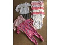 Baby girls bed clothing and vests 6-9 months