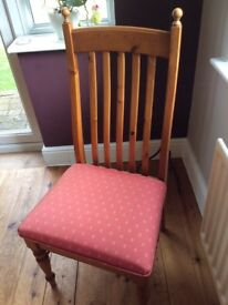 Pine Chairs, Price is per chair 2 Carvers & 6 Dining Chairs, upholstered seats. Good condition