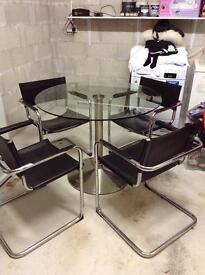 Retro glass table & chairs
