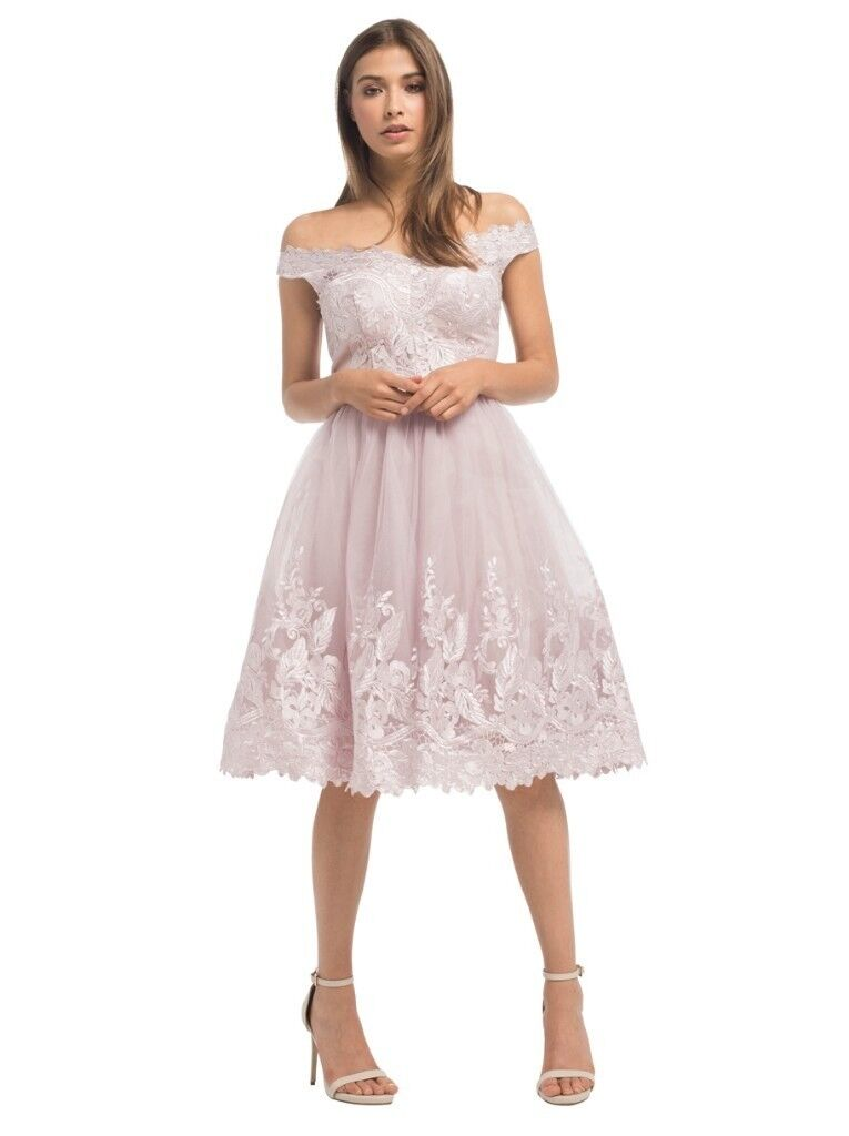 6eac6610f1a Chi Chi London Fleur Dress - Lilac Lace Prom Races Wedding Guest Occasion  Dress Size 12