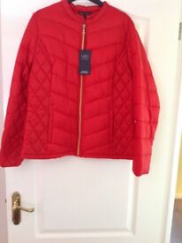 Ladies Red Quilted Red Jacket Size 14