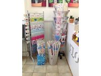 Greeting card and gift wrap stand inc wrap and cards